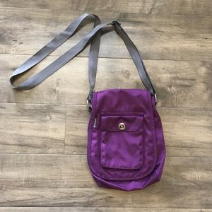 Columbia cross body bag, travel bag, purple